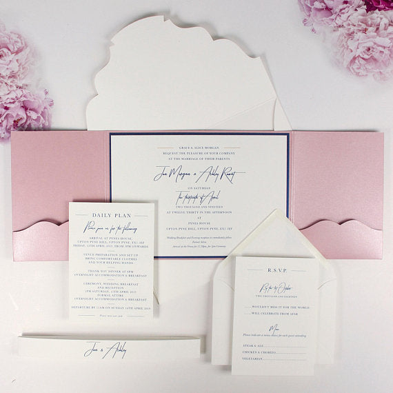 Luxury Wedding Invitation, Blue Gold Foil Invitations, Calligraphy Script Pocketfold with Belly Band Pocket set