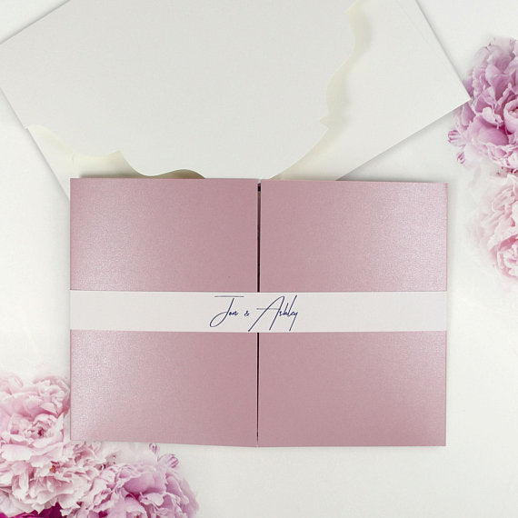 Luxury Navy and Blush Modern 3 Fold Pocketfold with Belly Band Pocket Invitation.