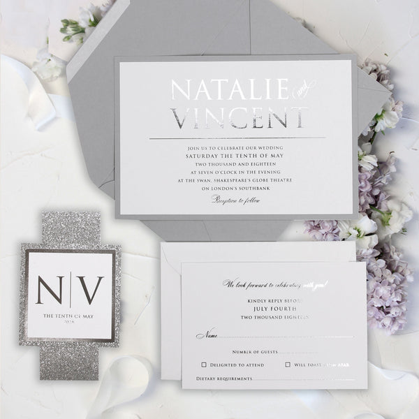 3 Tier Silver Foil and Dusty Grey Wedding Invitation with Silver Glitter Belly Band.