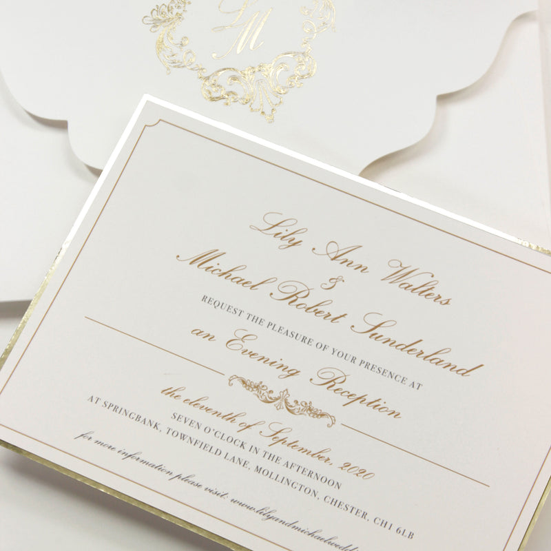 Luxury Gold Foil pocket fold suite Matching Evening Invitation with Gold Foil Monogram + Die Cut Custom Envelope