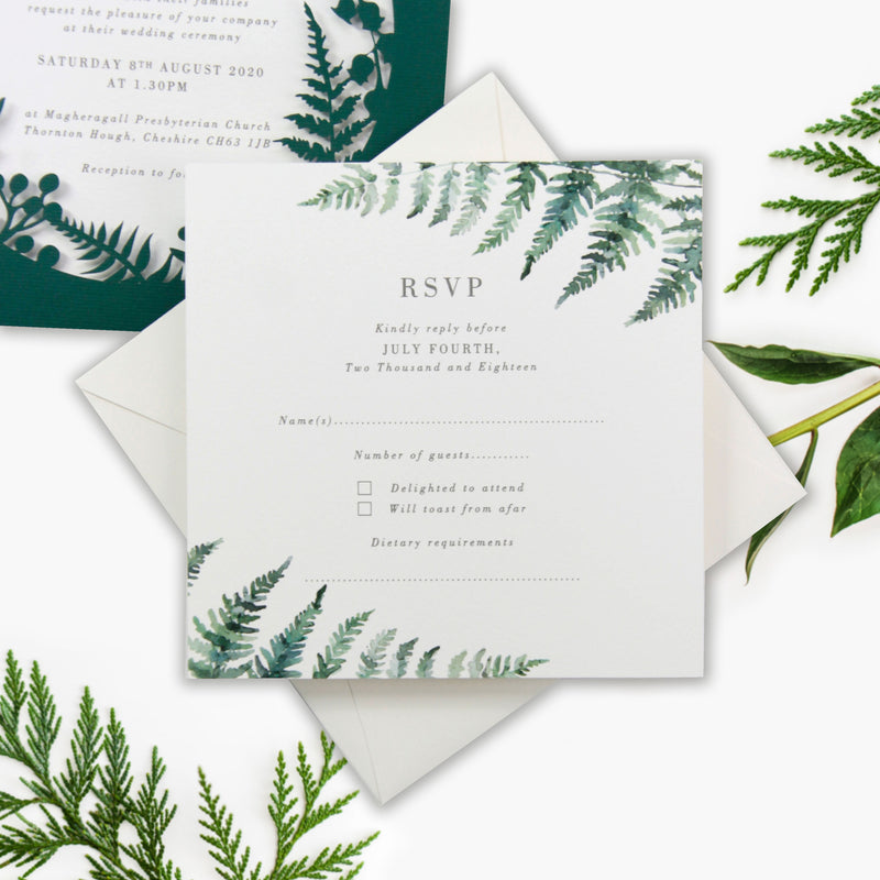 British Racing Green Fern Royal Winter Wonderland , Laser Cut Pocket Design with Watercolours.