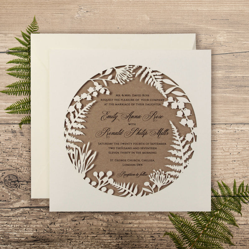 Natural Ecco Kraft Fern Forestry Laser Cut Pocket Day Invitation