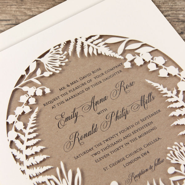 Natural Ecco forest, Laser Cut, Pocket,  Day Invitation