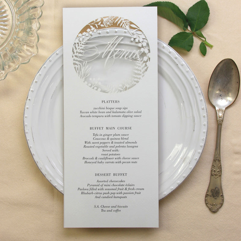 Fern laser cut menu