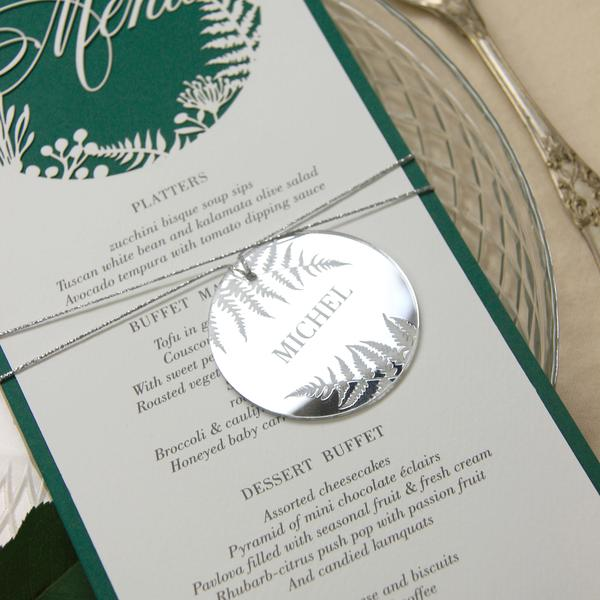 Laser Cut Mirror Plexi - Table Number - Fern Design as featured in Brides Magazine