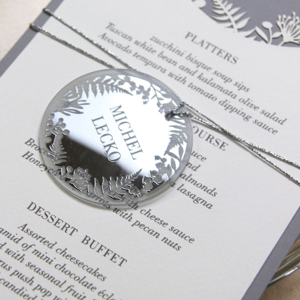 Silver Plexi Fern personalised Tag/Place Card - Oval String