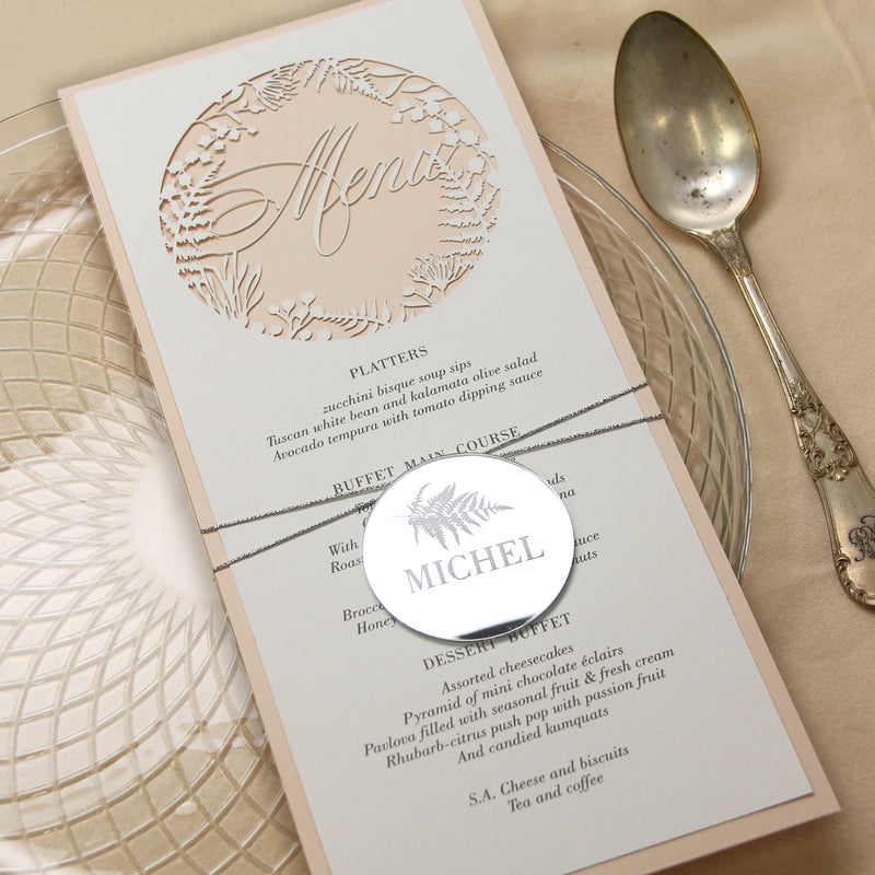 MENU matching Silver Plexi Fern personalised Tag/Place Card - Oval String