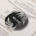 Natural White Fern laser cut menu