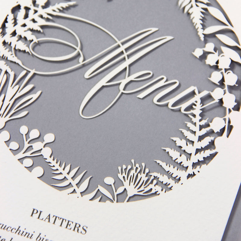 Grey Fern laser cut menu