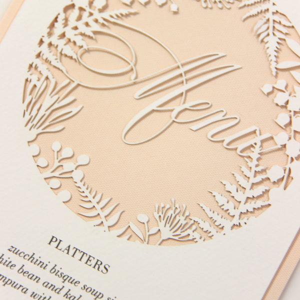 Soft Peach and natural Fern laser cut menu
