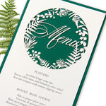 Forrest Green Fern laser cut menu