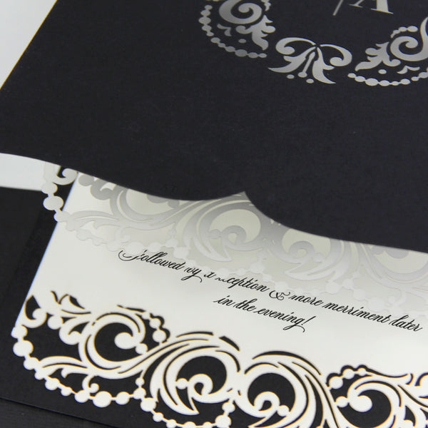 Black and White Laser Cut Blush Luxury Pocket Wedding Invitation Set with printed RSVP