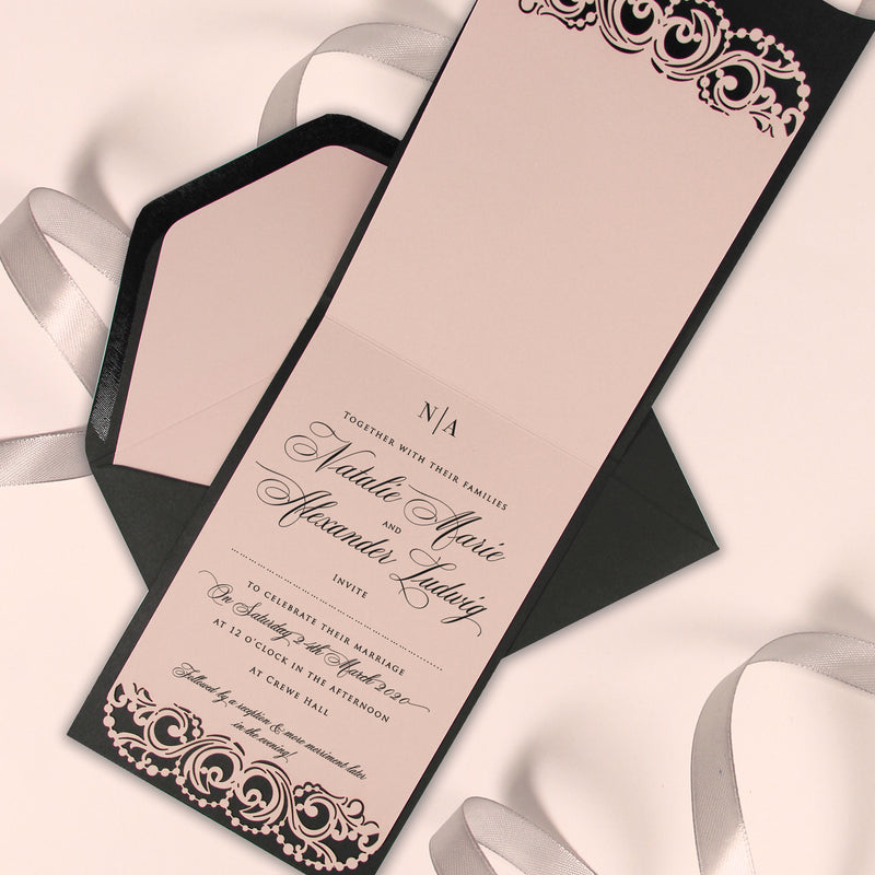 Deckled Trim Laser Cut Luxury Pocket Wedding Invitation with Colour Insert