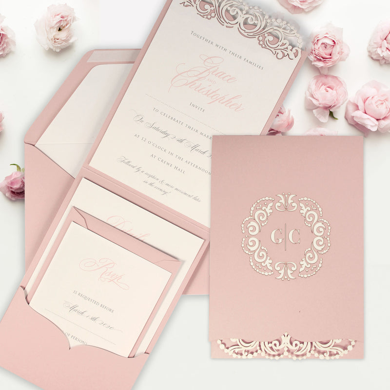 Rose Laser Cut Blush Pink Cream Monogram Wedding Invitation Set with printed RSVP