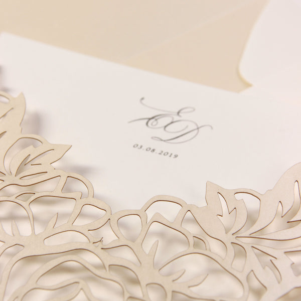 Classic Elegance Laser cut Pull out folder in Cream and Champagne Metallic Colours