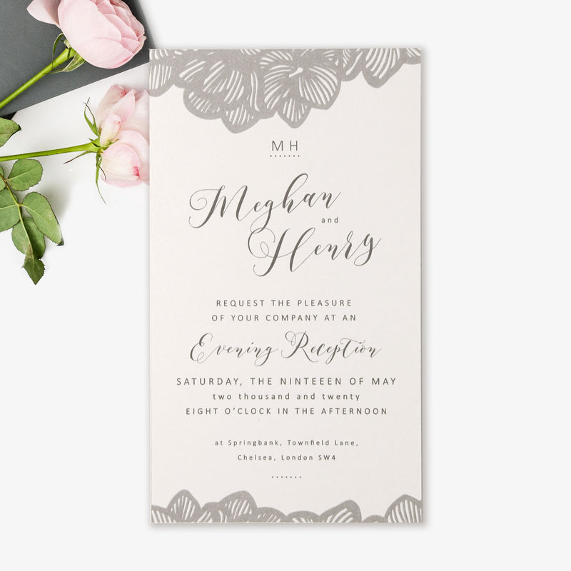 Grey Orchid Evening Invitation