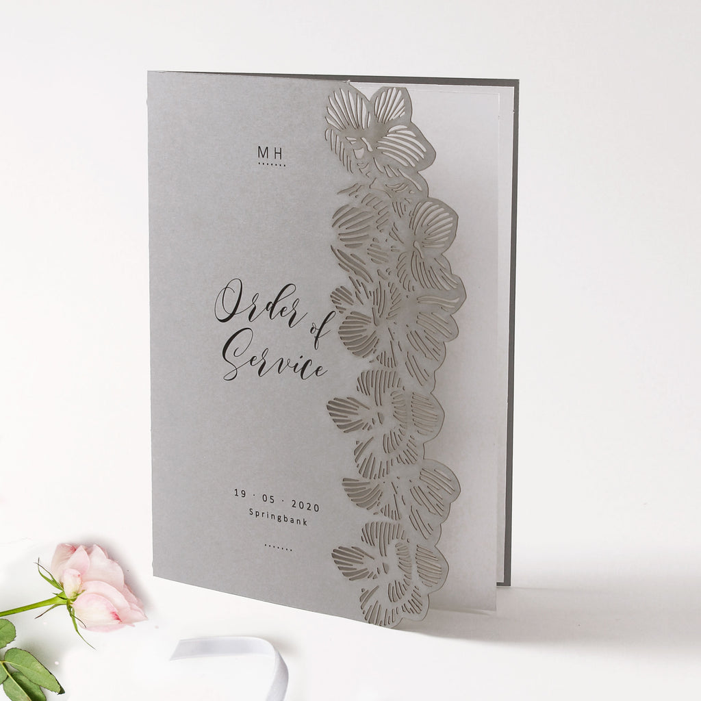 Grey Orchid Laser Cut Order of Service