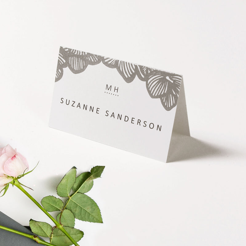 Grey Orchid  pocket matching Place Card