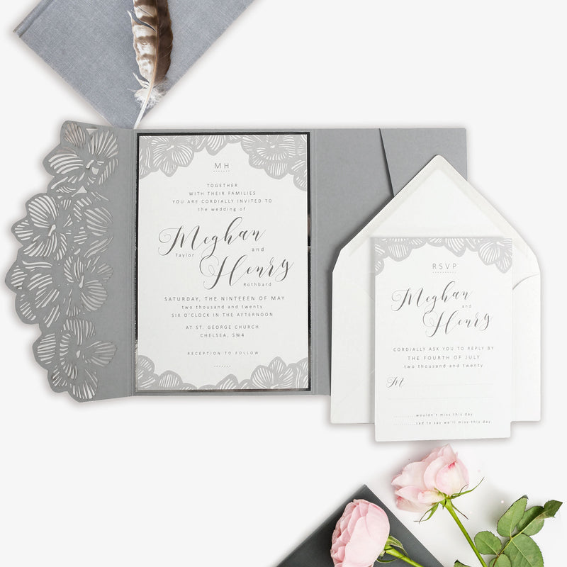 Light Grey Orchid Laser Cut pocket Invitation with RSVP and Envelopes