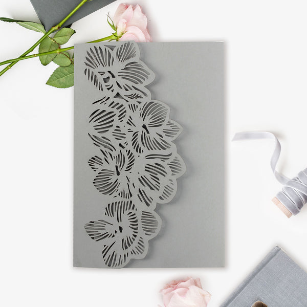 Royal Grey Orchid Laser Cut pocket Fold with RSVP and Envelopes