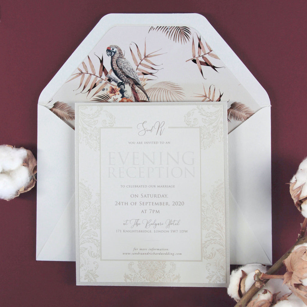 Nude and Pearl Foil Damask Boho Evening Invitation with Birds of Paradise