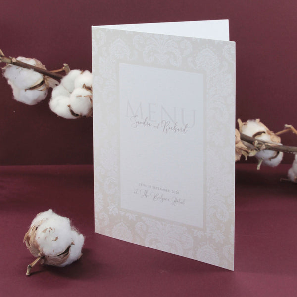 Nude and Pearl Foil Damask Boho Menu