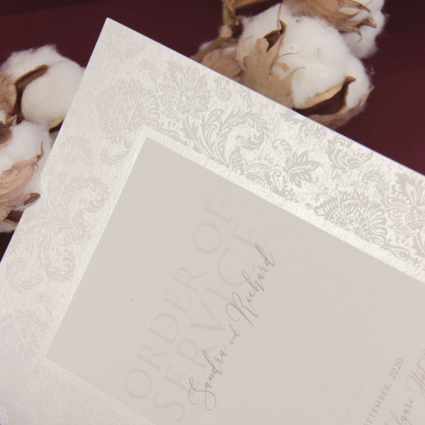 Nude and Pearl Foil Damask Boho Order of Service