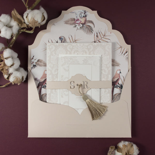 Nude and Pearl Foil Damask Boho Suite with Birds of Paradise and French Tassel with Monogram Belly Band