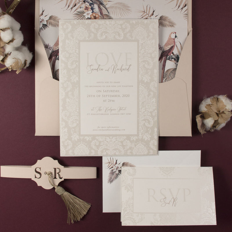 Luxury Damask Boho Invitation Suite with Birds of Paradise & Tassel with Bespoke Monogram Belly Band