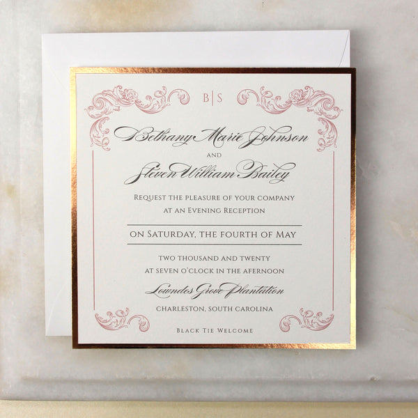 Square Regal Rose Gold Evening invitation
