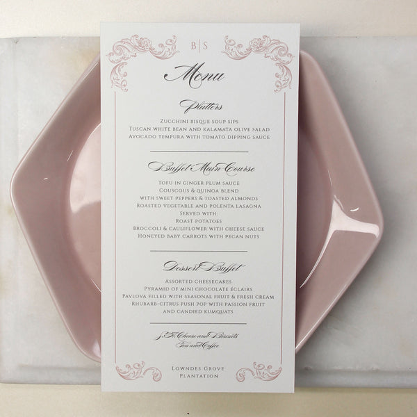 Regal Rose Gold matching Menu