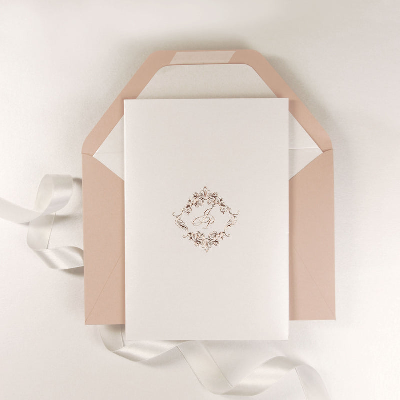 Real Rose Gold Foil Monogram on Shimmering White Pocket Wedding Invitation Suite
