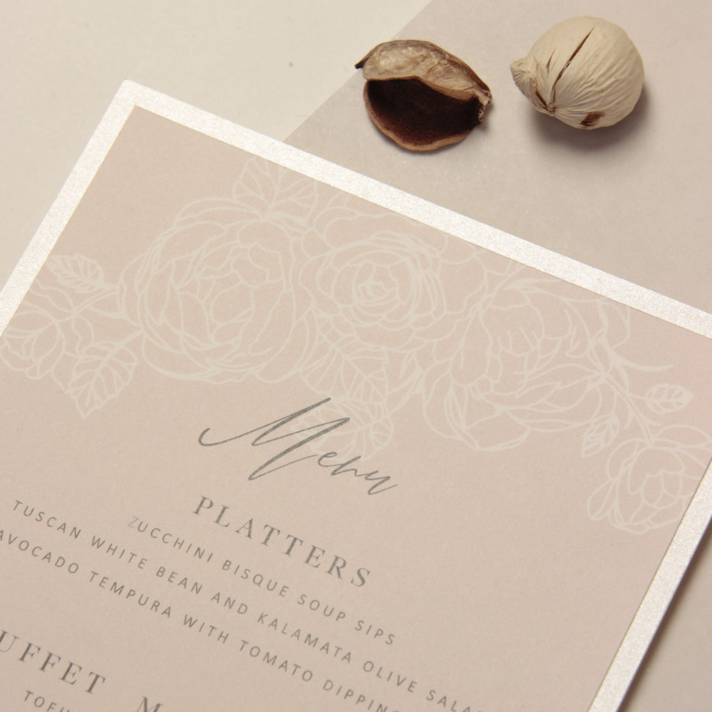 Filigree Roses, Champagne With Dusty Rose and White Calligraphy Menu