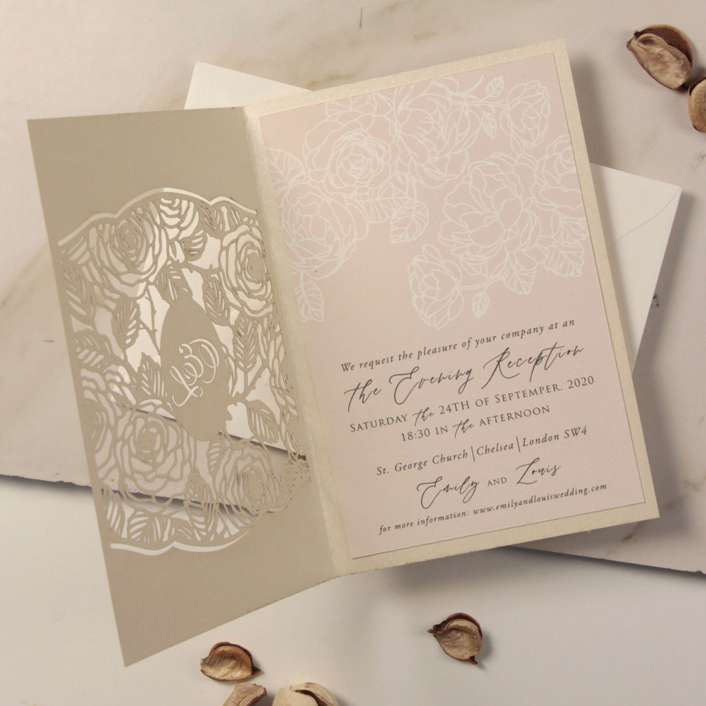 Monogram in Filigree Roses, Champagne With Dusty Rose Elegant Floral Calligraphy Evening Invitation