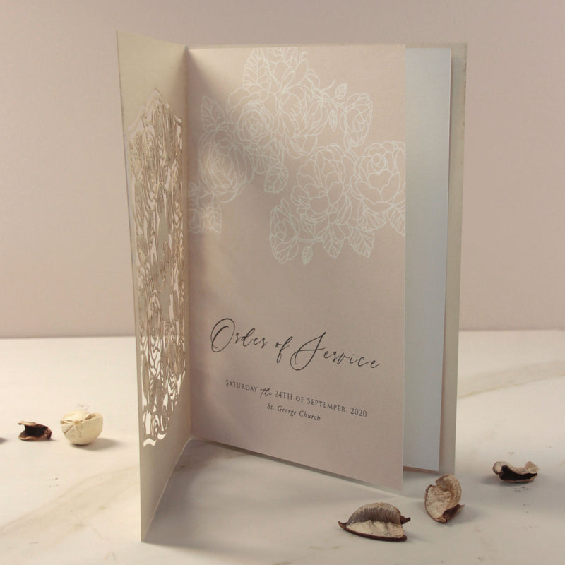 Monogram in Filigree Roses, Champagne With Dusty Rose and White Calligraphy Order of Service