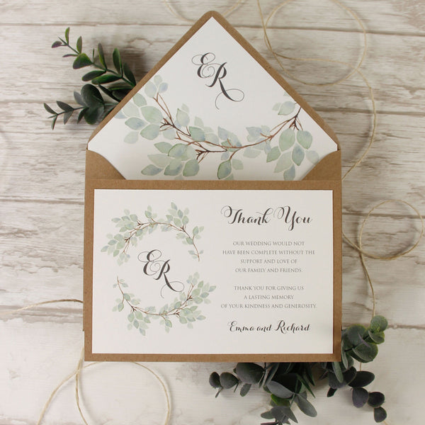 Green Eucalyptus Watercolour Leaf Rustic Wedding Thank you Cards