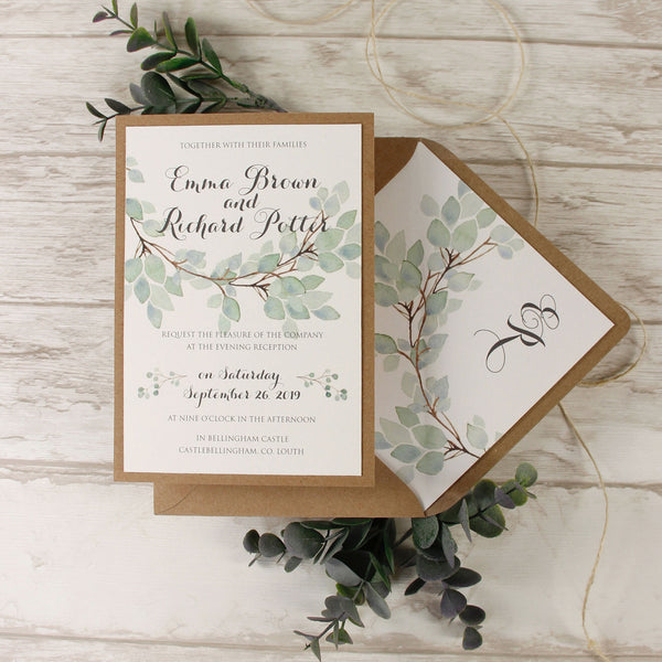 Green Watercolour Leaf Rustic Wedding Evening Invitation