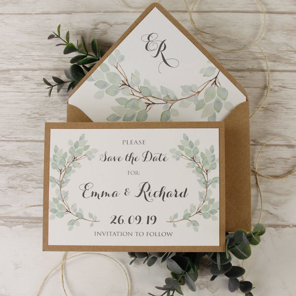 Green Eucalyptus Watercolour Leaf Rustic Wedding Save the Date
