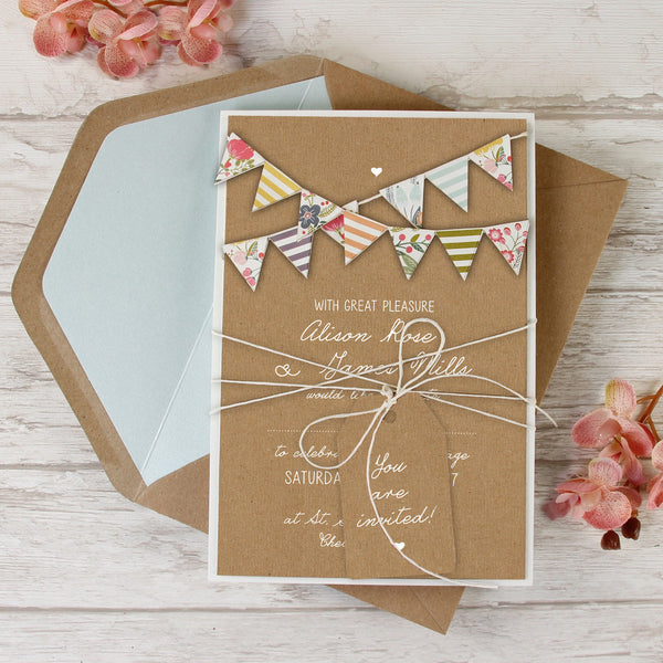 Hand Made Summer Rustic 3D Bunting Wedding Day Invitation