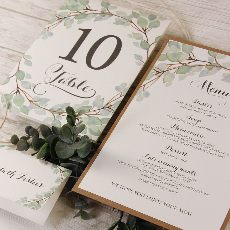 Green Watercolour Leaf Rustic Wedding Place Card