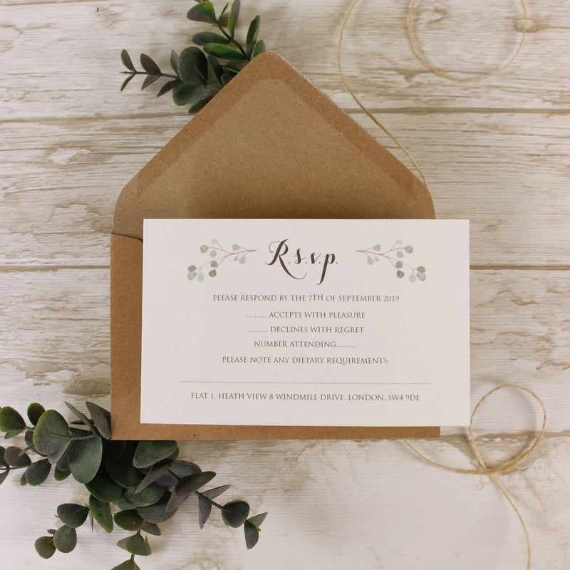 Green Watercolour Leaf Rustic Wedding RSVP