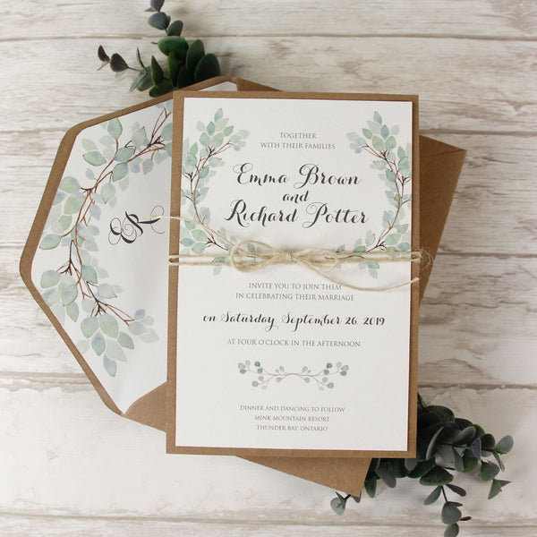 Green Watercolour Leaf Rustic Wedding Day Invitation