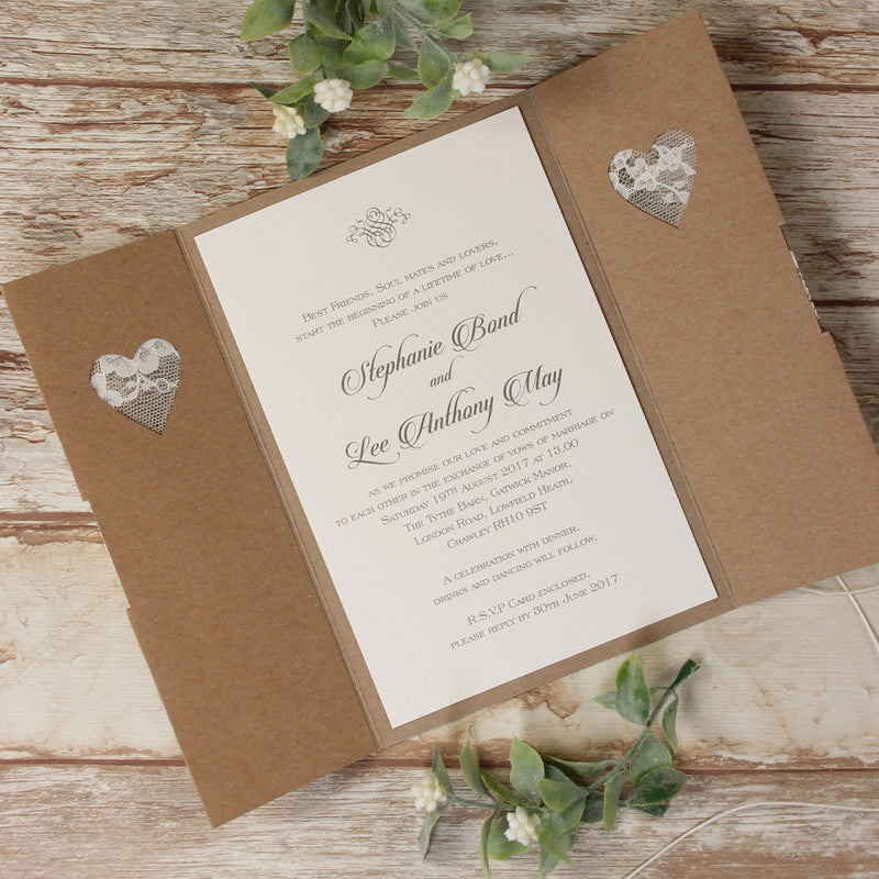 Rustic Laser Cut Lace Heart Gatefold Wedding Day Invitation