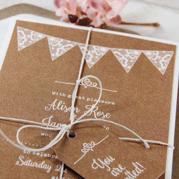 Handmade Summer Rustic White Bunting Wedding Day Invitation