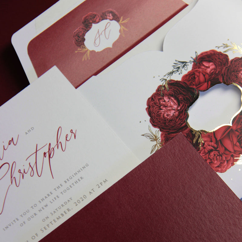 Luxury Red Romance & Roses Monogram Pull out Folder Wedding Invitation with Luxurious Tassel and Gold Foil