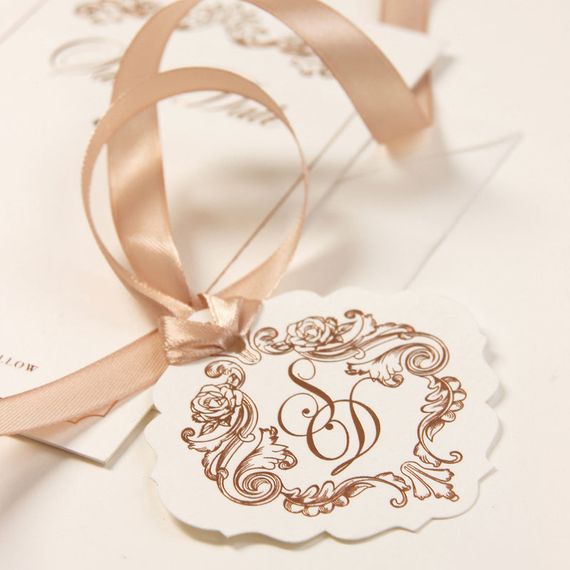 Luxurious Foiled Card and Tag with Monogram and satin ribbon Save the Date