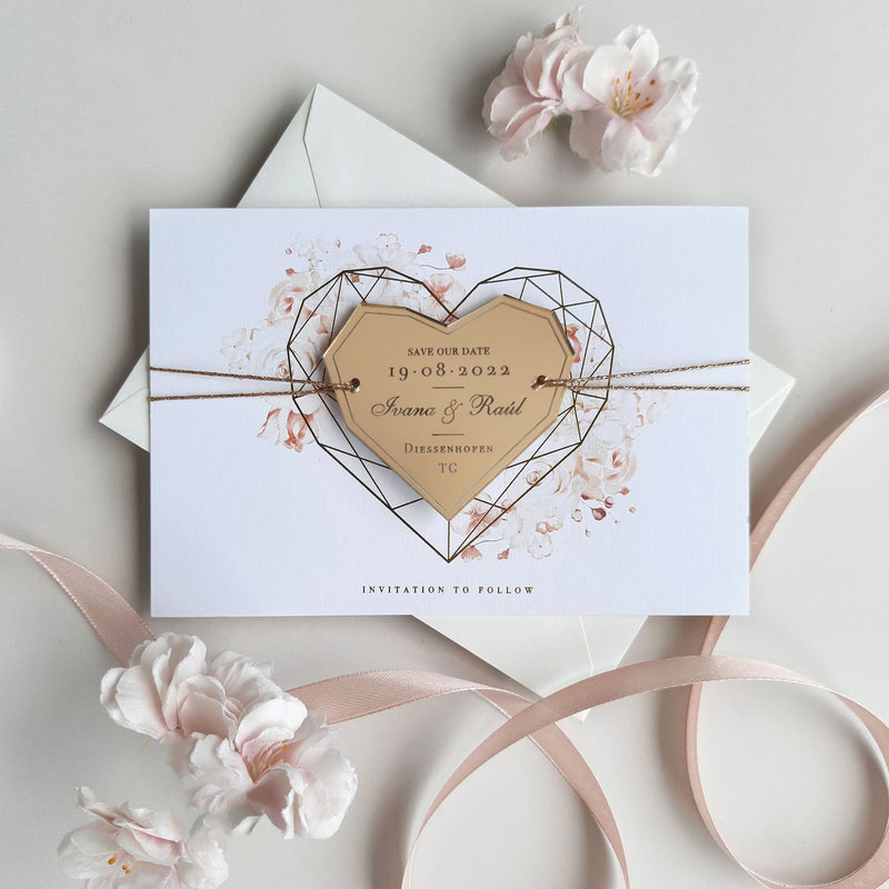Romantic Roses Save the Date with Gold Mirror Geometric Heart Plexi Magnet
