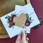 Deep Red Peonies Save the Date with Plexi Mirror Geometric Heart Acrylic Magnet