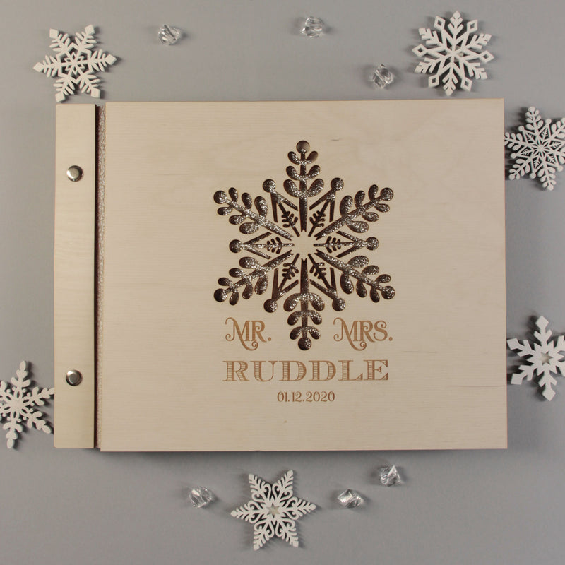 Winter Wedding Guest Book, 50 Sheet Large Beautiful Wooden Snowflake Winter Guest Book With Glitter