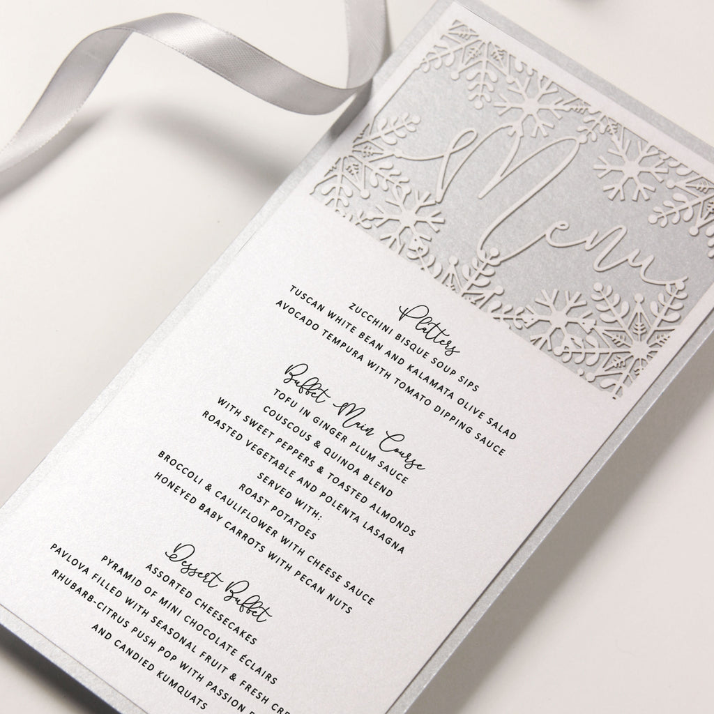 White Winter, a Snowflake Laser Cut Menu